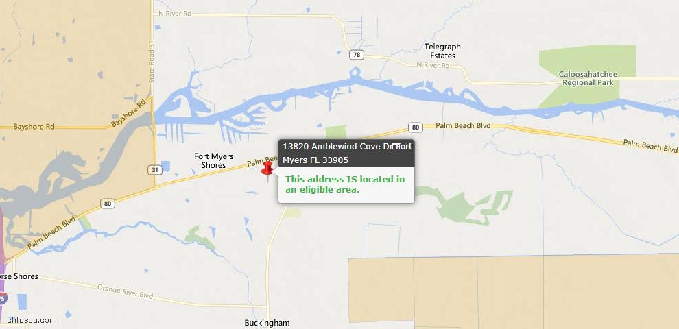 USDA Loan Eligiblity Map - 13820 Amblewind Cove Way, Fort Myers, FL 33905