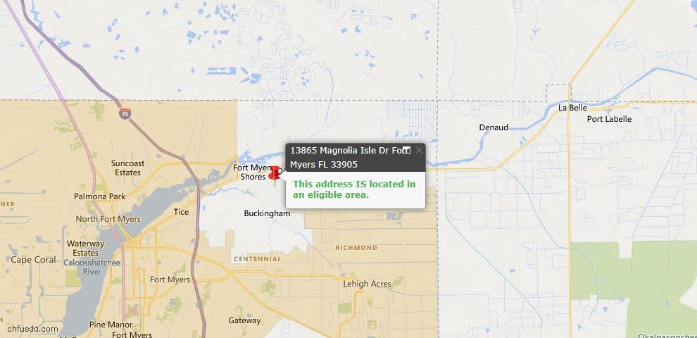 USDA Loan Eligiblity Map - 13865 Magnolia Isles Dr, Fort Myers, FL 33905