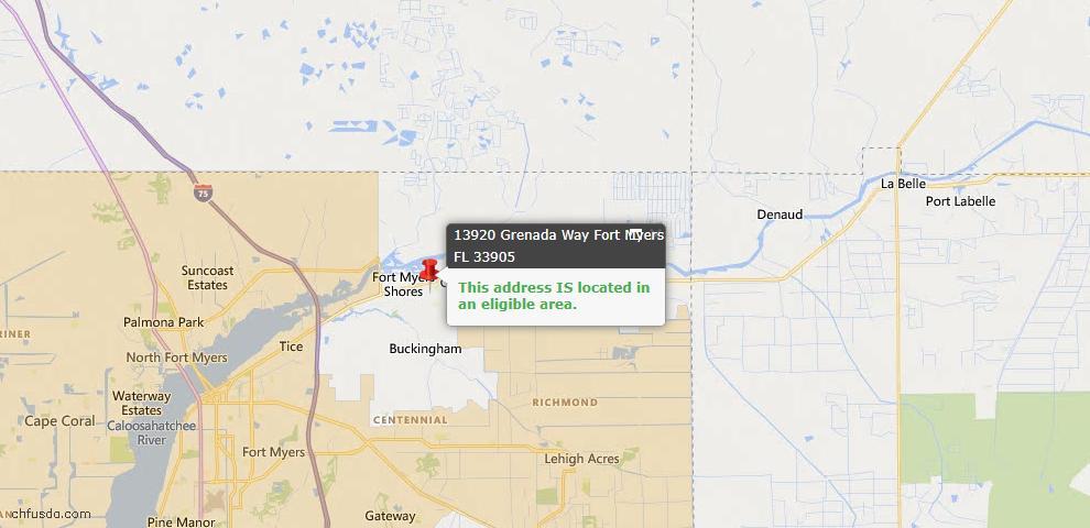 USDA Loan Eligiblity Map - 13920 Grenada Way, Fort Myers, FL 33905
