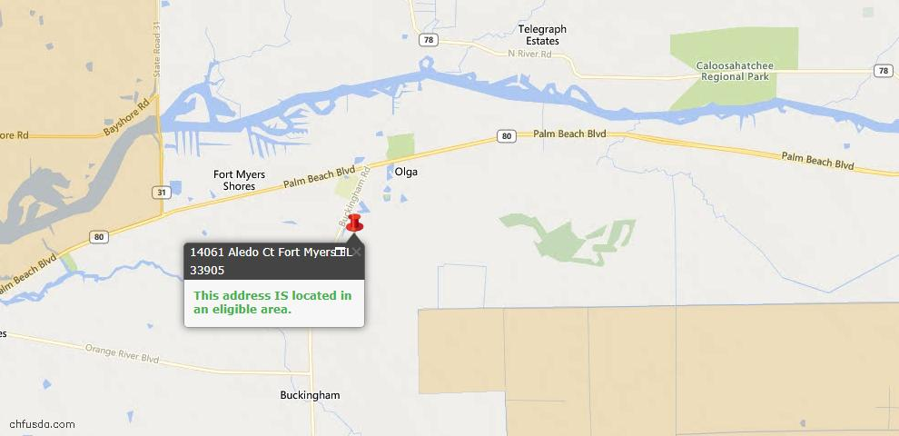 USDA Loan Eligiblity Map - 14061 Aledo Ct, Fort Myers, FL 33905