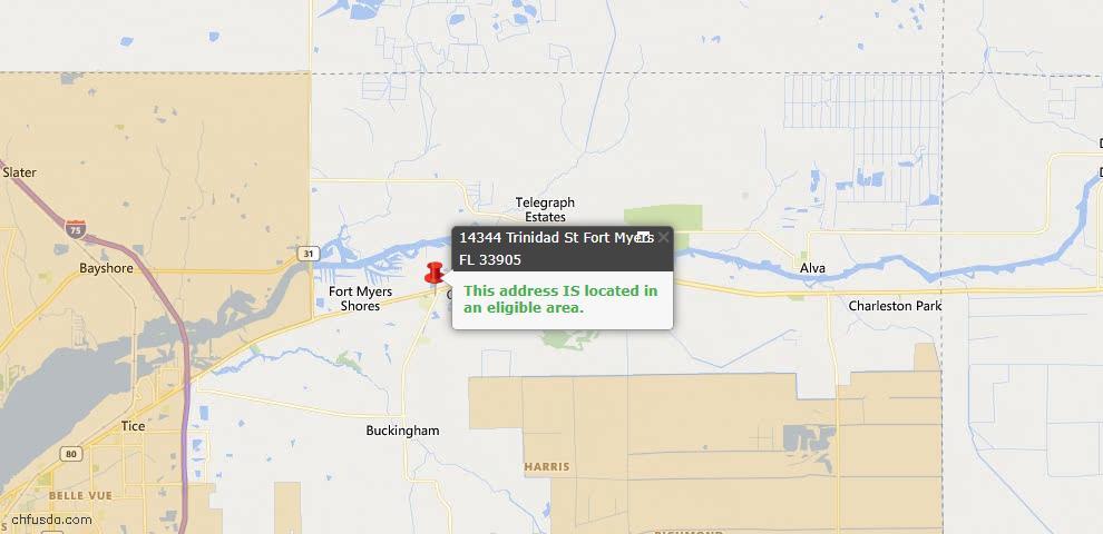 USDA Loan Eligiblity Map - 14344 Trinidad St, Fort Myers, FL 33905