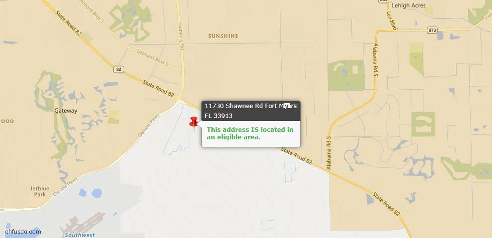 USDA Loan Eligiblity Map - 11730 Shawnee Rd, Fort Myers, FL 33913