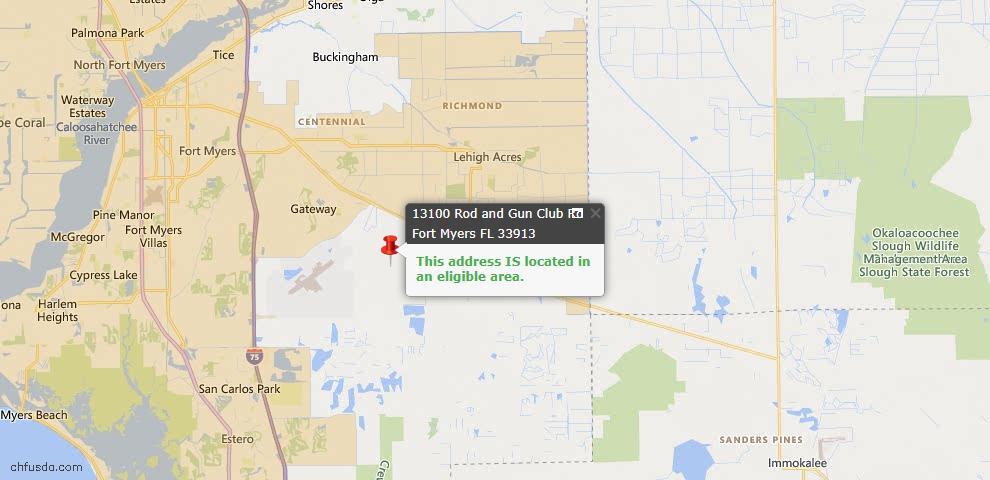 USDA Loan Eligiblity Map - 13100 Rod And Gun Club Rd, Fort Myers, FL 33913
