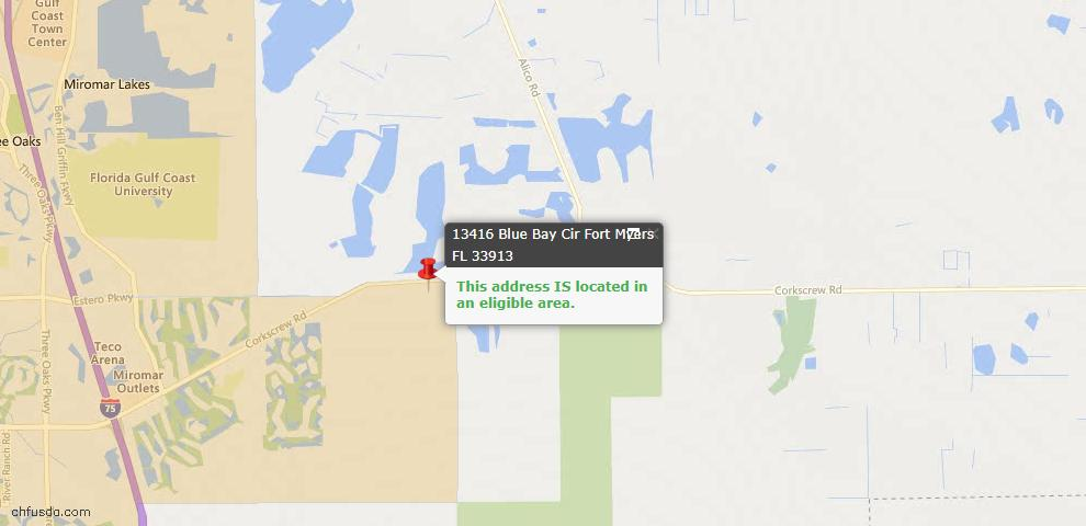 USDA Loan Eligiblity Map - 13416 Blue Bay Cir, Fort Myers, FL 33913