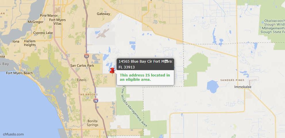 USDA Loan Eligiblity Map - 14565 Blue Bay Cir, Fort Myers, FL 33913