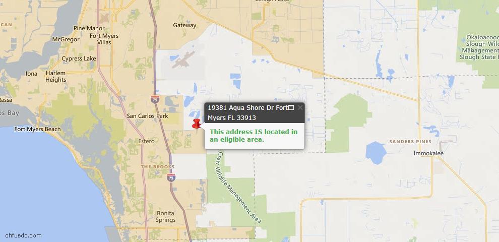 USDA Loan Eligiblity Map - 19381 Aqua Shore Dr, Fort Myers, FL 33913