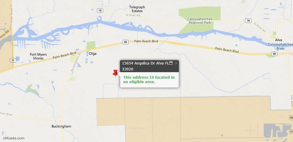 USDA Loan Eligiblity Map - 15654 Angelica Dr, Alva, FL 33920