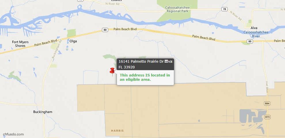 USDA Loan Eligiblity Map - 16141 Palmetto Prairie Dr, Alva, FL 33920