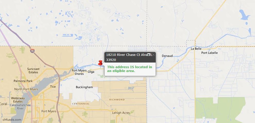 USDA Loan Eligiblity Map - 18210 Riverchase Ct, Alva, FL 33920
