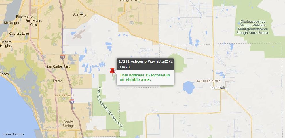 USDA Loan Eligiblity Map - 17211 Ashcomb Way, Estero, FL 33928