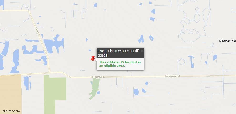 USDA Loan Eligiblity Map - 19020 Elston Way, Estero, FL 33928