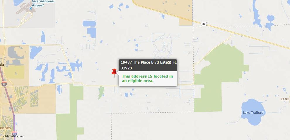 USDA Loan Eligiblity Map - 19437 The Place Blvd, Estero, FL 33928