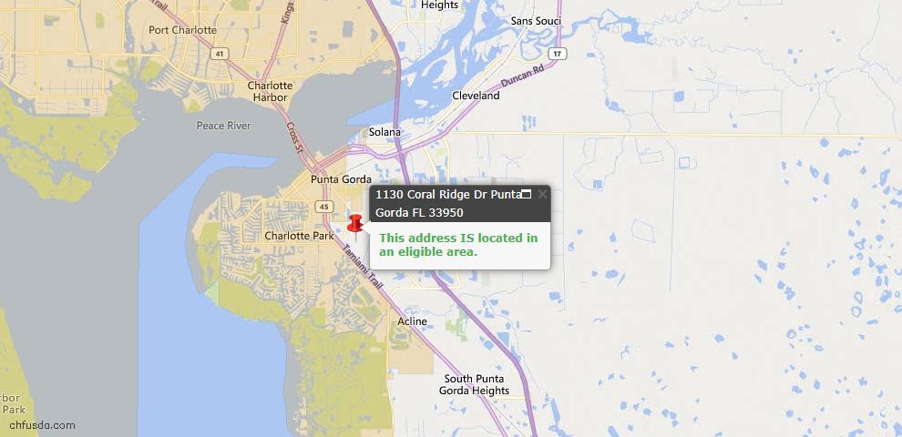 USDA Loan Eligiblity Map - 1130 Coral Ridge Dr, Punta Gorda, FL 33950