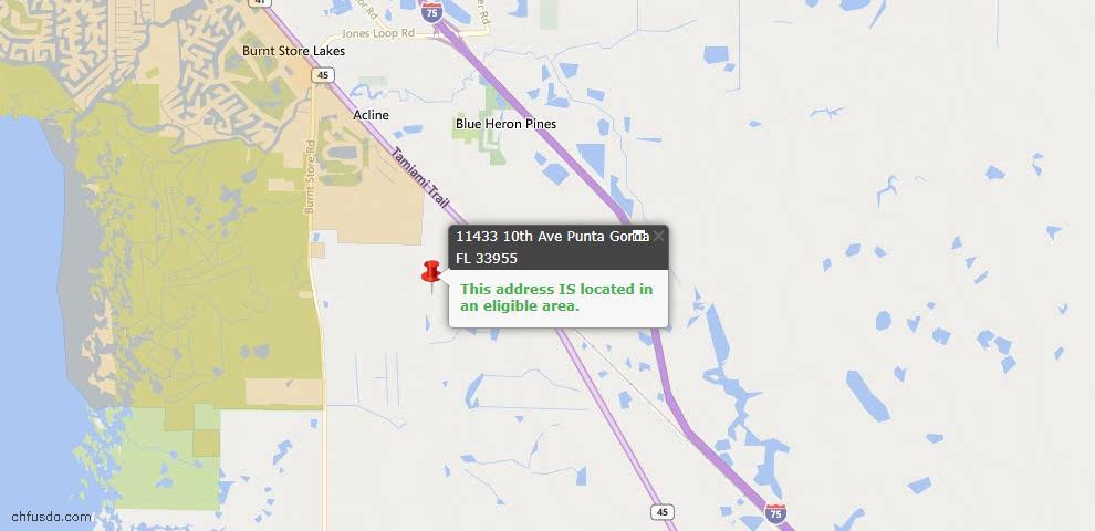USDA Loan Eligiblity Map - 11433 Tenth Ave, Punta Gorda, FL 33955