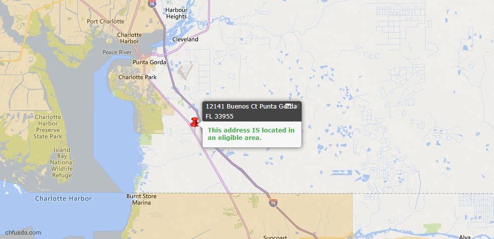 USDA Loan Eligiblity Map - 12141 Buenos Ct, Punta Gorda, FL 33955