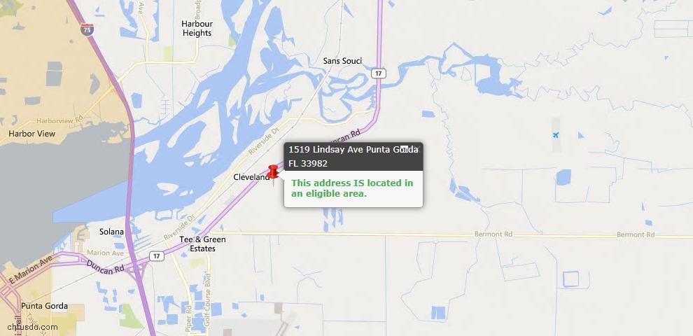 USDA Loan Eligiblity Map - 1519 Lindsay Ave, Punta Gorda, FL 33982
