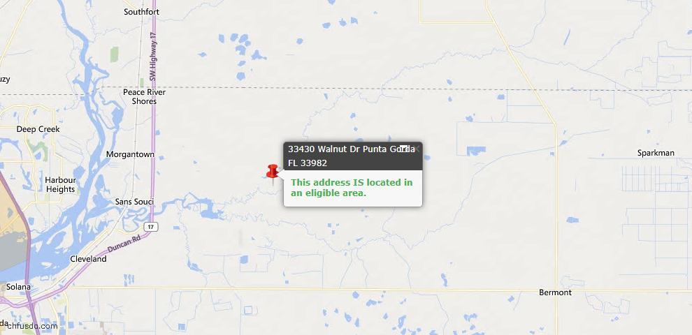 USDA Loan Eligiblity Map - 33430 Walnut Dr, Punta Gorda, FL 33982