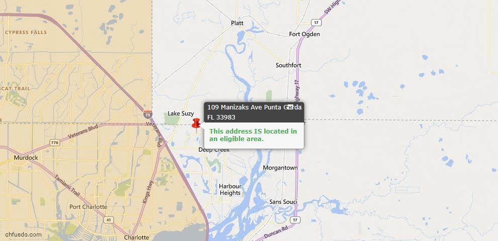 USDA Loan Eligiblity Map - 109 Manizaks Ave, Punta Gorda, FL 33983
