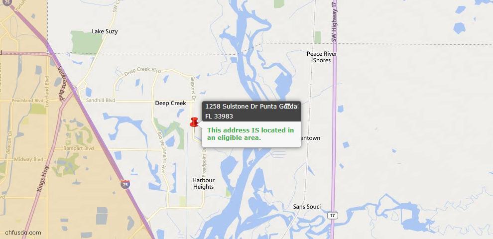 USDA Loan Eligiblity Map - 1258 Sulstone Dr, Punta Gorda, FL 33983