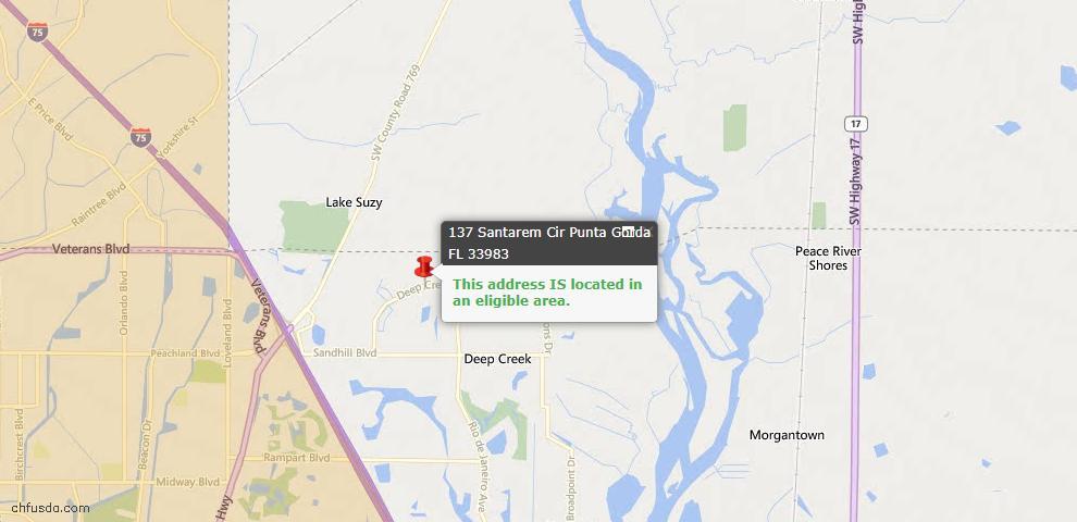 USDA Loan Eligiblity Map - 137 Santarem Cir, Punta Gorda, FL 33983