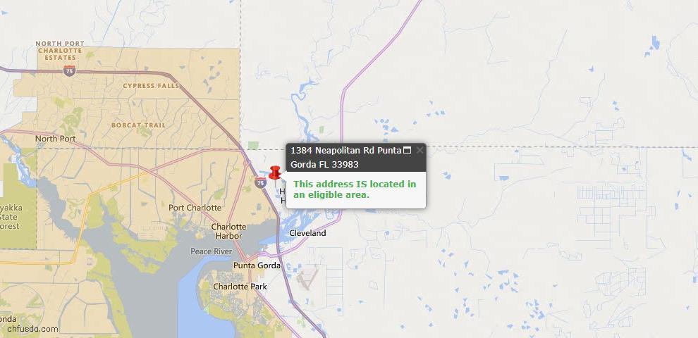 USDA Loan Eligiblity Map - 1384 Neapolitan Rd, Punta Gorda, FL 33983