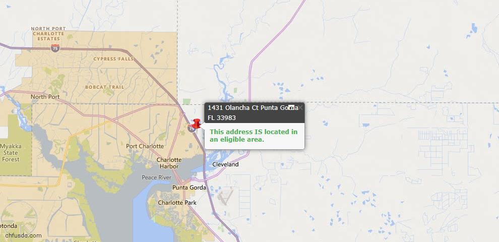 USDA Loan Eligiblity Map - 1431 Olancha Ct, Punta Gorda, FL 33983