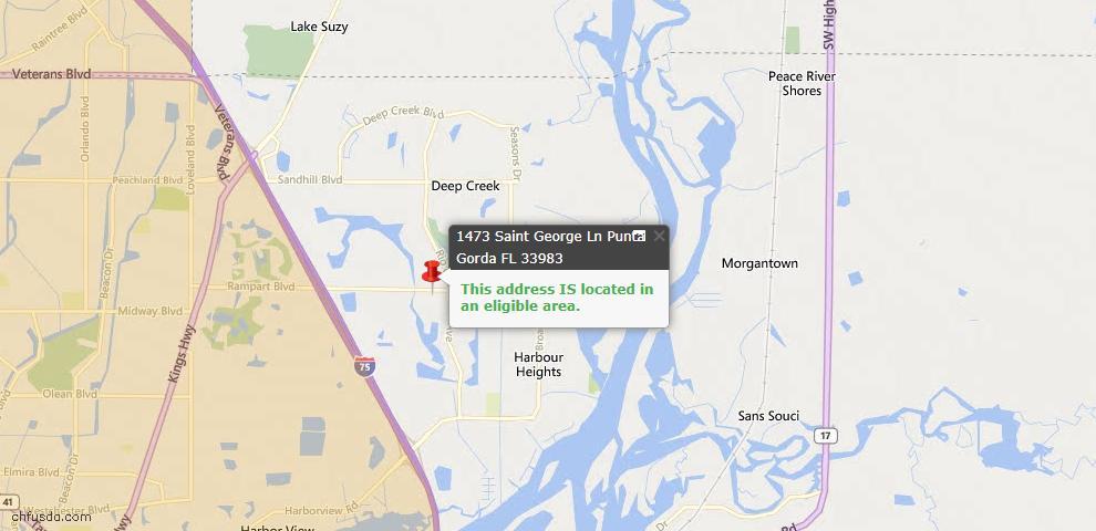USDA Loan Eligiblity Map - 1473 Saint George Ln, Punta Gorda, FL 33983