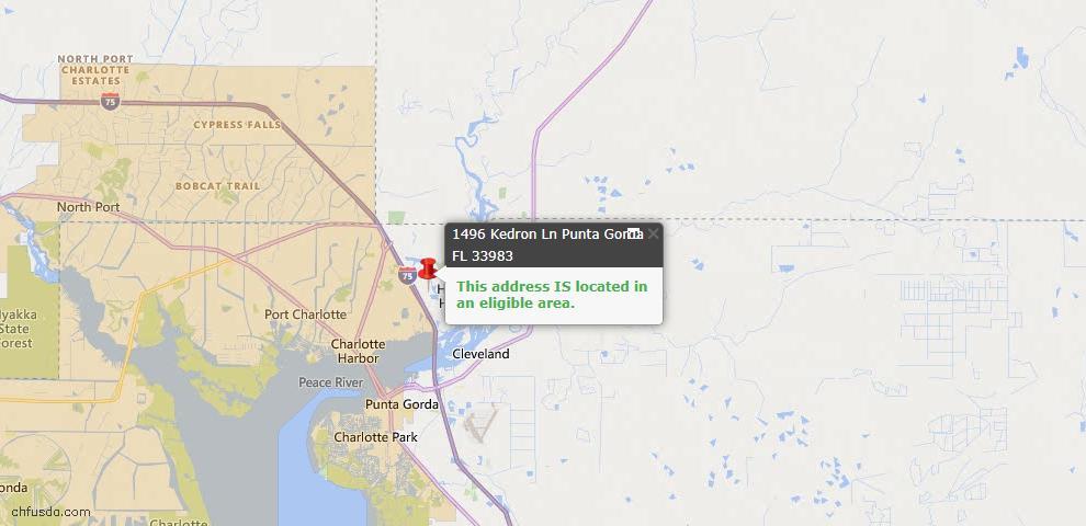 USDA Loan Eligiblity Map - 1496 Kedron Ln, Punta Gorda, FL 33983