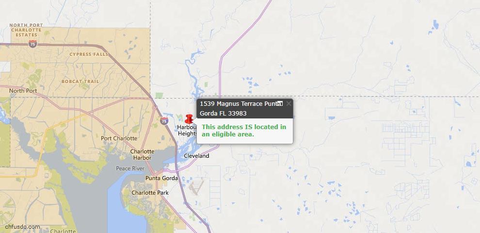 USDA Loan Eligiblity Map - 1539 Magnus Ter, Punta Gorda, FL 33983