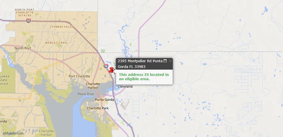 USDA Loan Eligiblity Map - 2395 Montpelier Rd, Punta Gorda, FL 33983