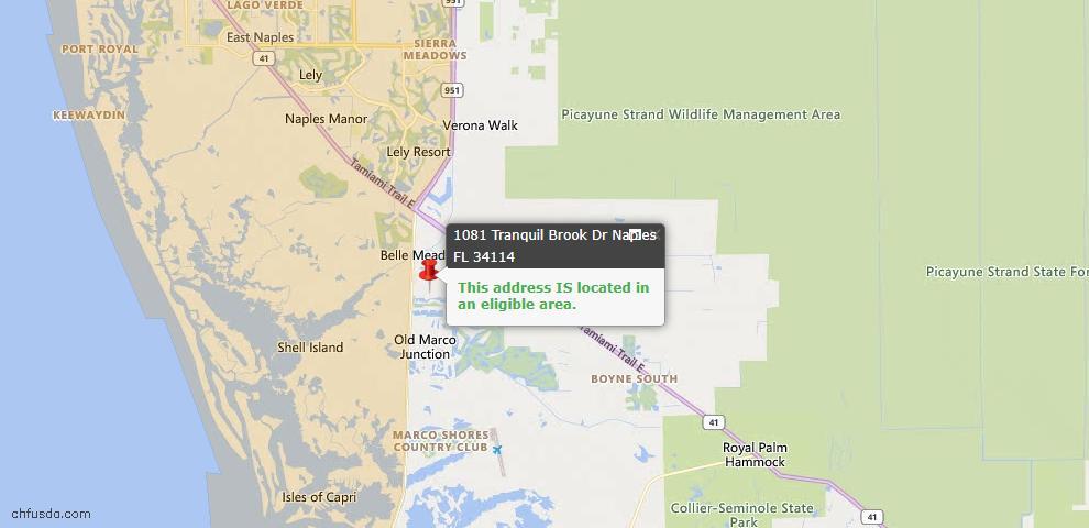 USDA Loan Eligiblity Map - 1081 Tranquil Brook Dr, Naples, FL 34114