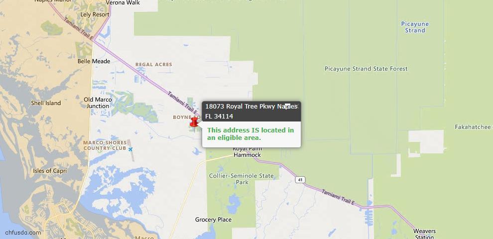 USDA Loan Eligiblity Map - 18073 Royal Tree Pkwy, Naples, FL 34114