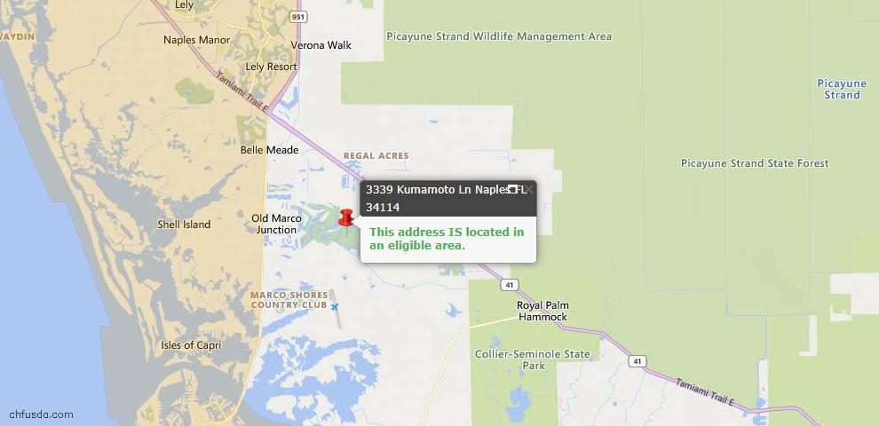 USDA Loan Eligiblity Map - 3339 Kumamoto Ln, Naples, FL 34114
