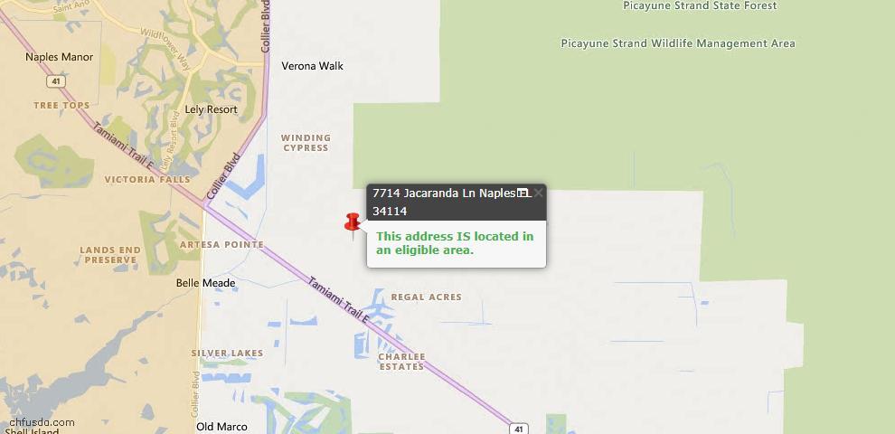 USDA Loan Eligiblity Map - 7714 Jacaranda Ln, Naples, FL 34114