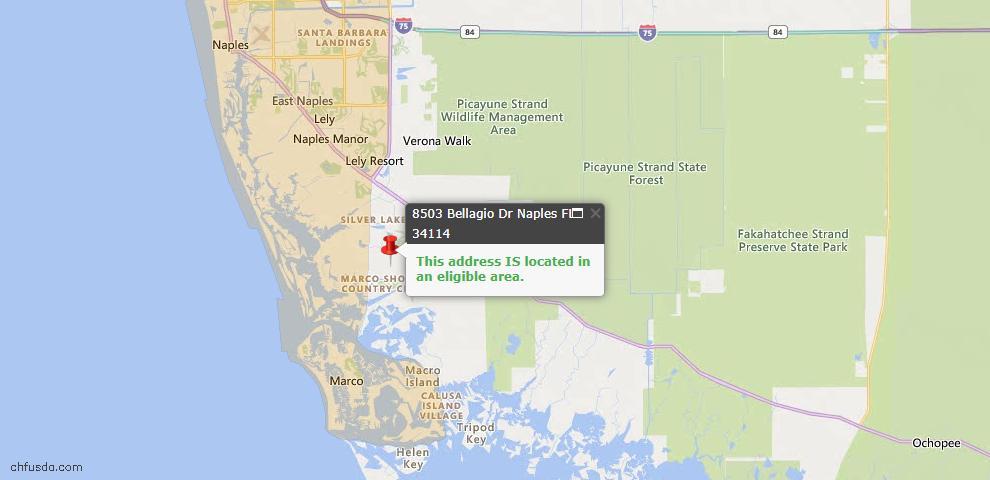 USDA Loan Eligiblity Map - 8503 Bellagio Dr, Naples, FL 34114