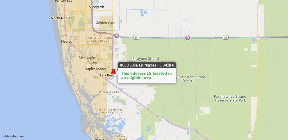 USDA Loan Eligiblity Map - 8633 Julia Ln, Naples, FL 34114