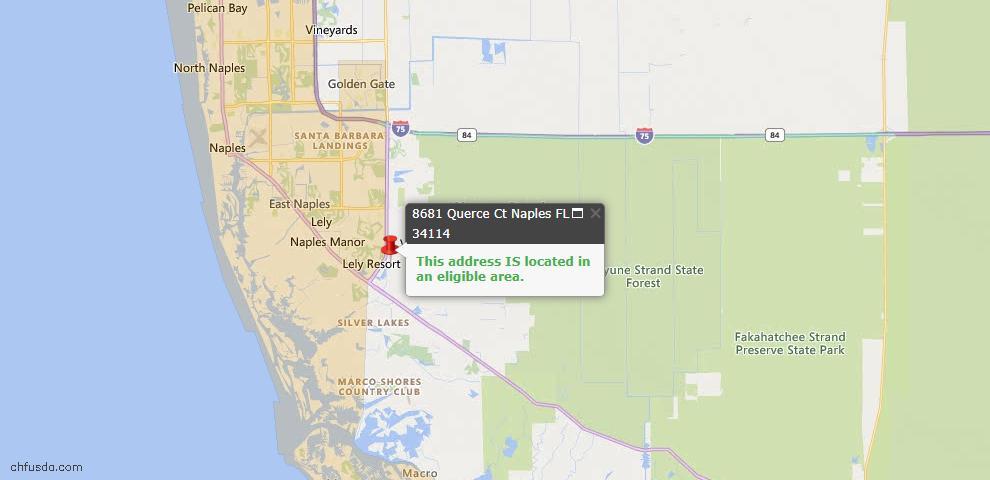 USDA Loan Eligiblity Map - 8681 Querce Ct, Naples, FL 34114