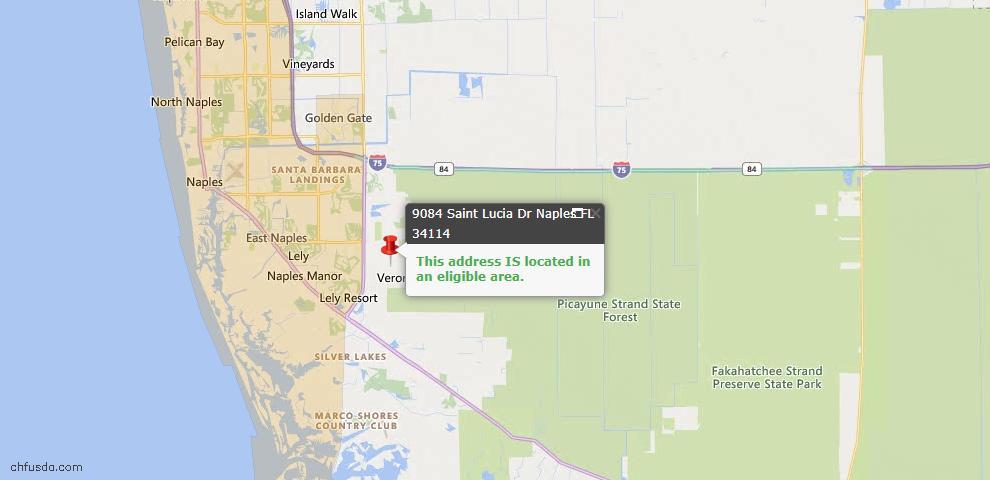 USDA Loan Eligiblity Map - 9084 Saint Lucia Dr, Naples, FL 34114
