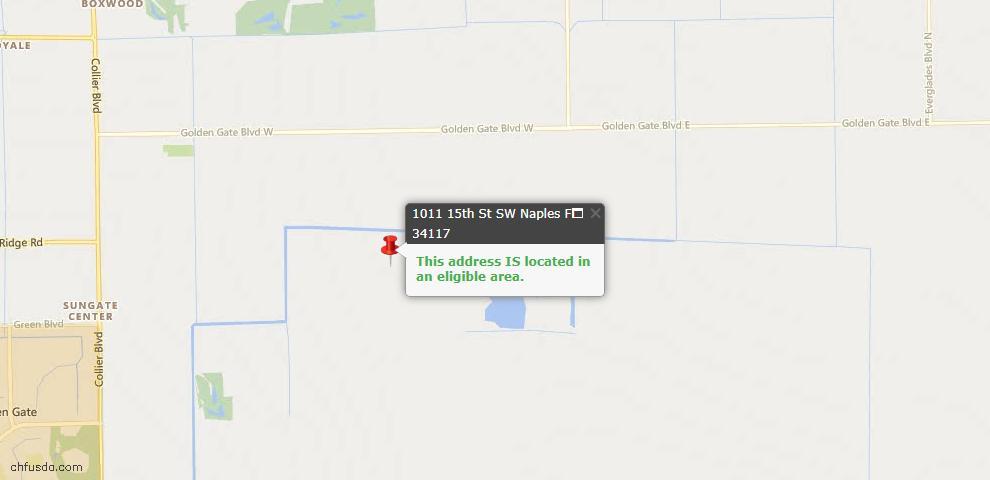 USDA Loan Eligiblity Map - 1011 15th St SW, Naples, FL 34117