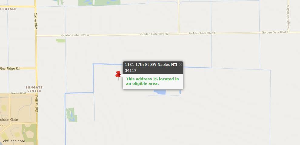 USDA Loan Eligiblity Map - 1131 17th St SW, Naples, FL 34117