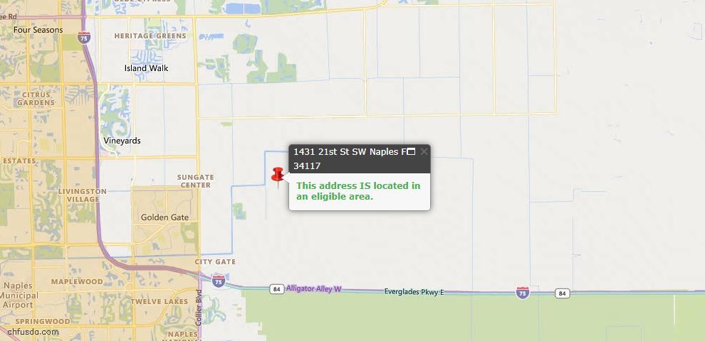 USDA Loan Eligiblity Map - 1431 21st St SW, Naples, FL 34117