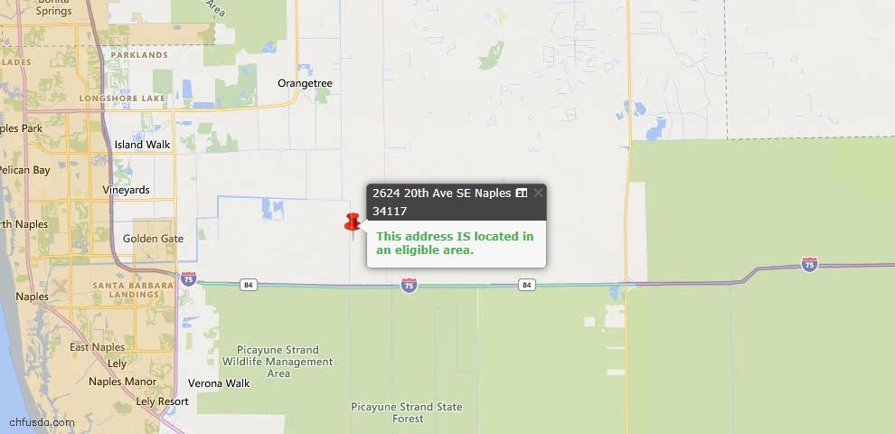 USDA Loan Eligiblity Map - 2624 20th Ave SE, Naples, FL 34117