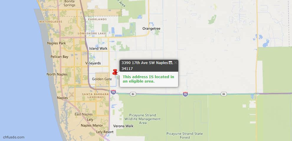 USDA Loan Eligiblity Map - 3390 17th Ave SW, Naples, FL 34117