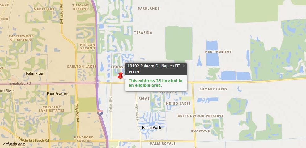 USDA Loan Eligiblity Map - 10102 Palazzo Dr, Naples, FL 34119