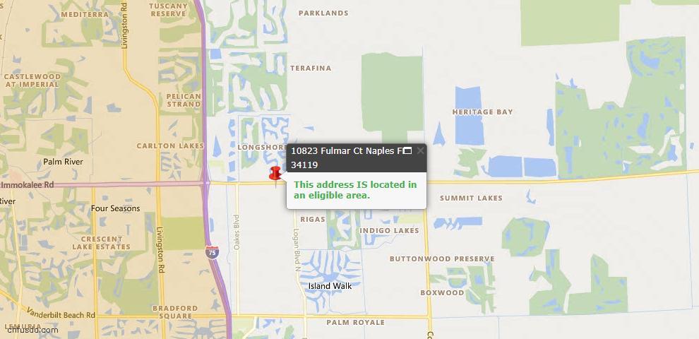 USDA Loan Eligiblity Map - 10823 Fulmar Ct, Naples, FL 34119