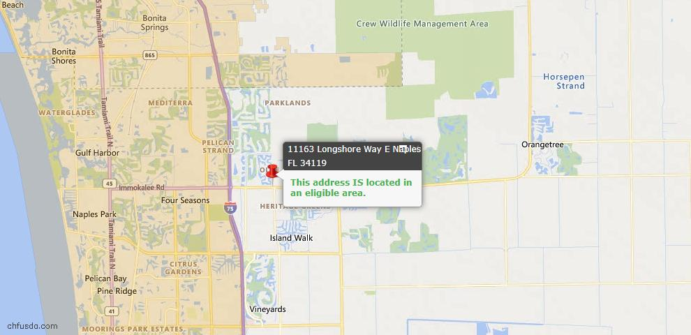 USDA Loan Eligiblity Map - 11163 Longshore Way E, Naples, FL 34119