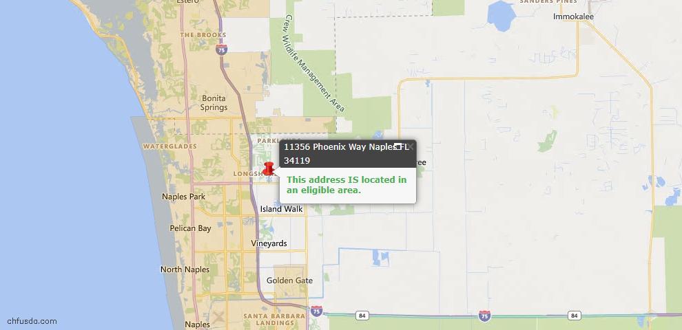 USDA Loan Eligiblity Map - 11356 Phoenix Way, Naples, FL 34119