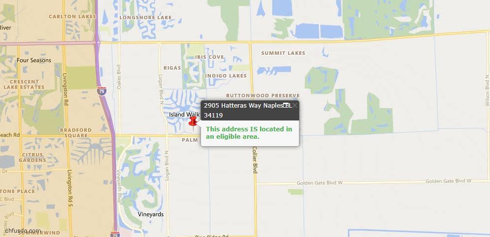 USDA Loan Eligiblity Map - 2905 Hatteras Way, Naples, FL 34119