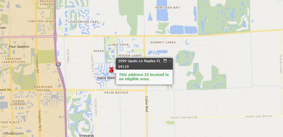 USDA Loan Eligiblity Map - 3999 Upolo Ln, Naples, FL 34119