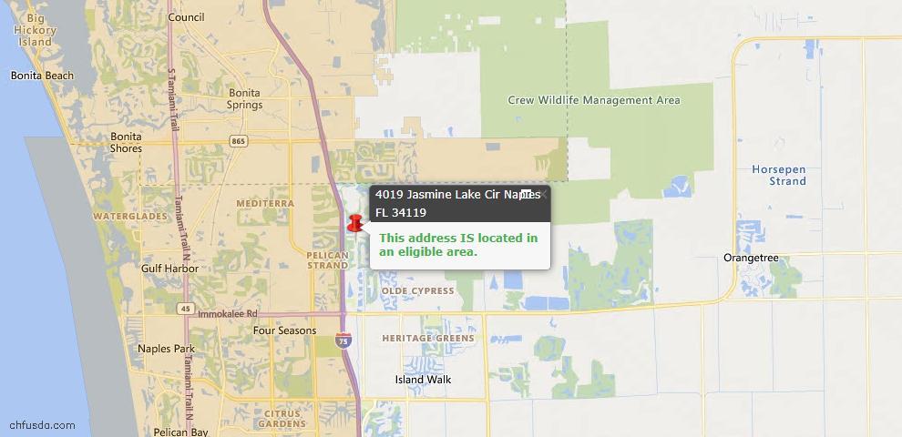 USDA Loan Eligiblity Map - 4019 Jasmine Lake Cir, Naples, FL 34119